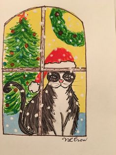 original watercolor illustration by V. Christmas Cats, Zentangles, Kitty Cats, Watercolor Illustration, Cat Art, Crow, Watercolors, Pets, Drawings