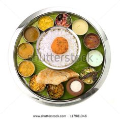 Typical south Indian Thali served in marriages - stock photo