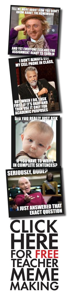 Hook your teens with funny teacher memes! Click HERE to add free fun to your classroom. #meme                                                                                                                                                     More