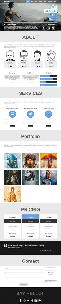 TREDD STUDIO is a grid-based (Twitter Bootstrap Grid System) one page Responsive #MODX #template for #creative or #Digital #Agency, Photostudio, ...