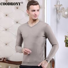 TOP QUALITY 2016 Autumn Winter New 100% Real Merino Wool Sweater Men Solid Color V-Neck Mens Sweaters Warm Cashmere Pullover Men