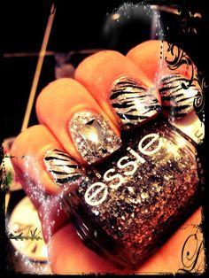 Zebra Nails with Heart Encrusted Rhinestone