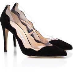 Bionda Castana 105mm Black Suede Dorothy Heels ($590) ❤ liked on Polyvore