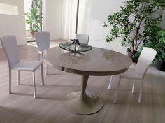 Table Oqui extensible ronde 120-200 cm, naturel et blanc   Salons ...