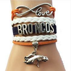 """Denver Broncos Bracelet 7"""" + 1 1/2"""" Extended Chain with Lobster Claw Clasp…"""