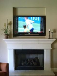 Gas Fireplace with TV Above | Recessed TV over gas fireplace ...