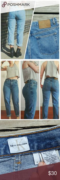 """Vintage 90s Calvin Klein Denim Jeans This listing is for a classic pair of high waisted Calvin Klein Easy Fit dungarees, medium blue wash. 8/10 condition!  The tag states size 8 inseam 30, but make sure to refer to measurements :  Waist 15.5"""", rise 11.5"""", hip 21"""",inseam uncuffed 30""""  **Model in first photo is for styling inspiration only, the second photo is of the actual jeans.  Model is 5""""6 140 lbs. 31"""" waist, 43"""" hips.  Please note this pair is a little too tight for model, would probably…"""
