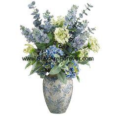 "33""Hx18""W Hydrangea, Lilac & Queen Anne's Lace Silk Flower Arrangement -Blue/Cream - WF1561-BL/CR"