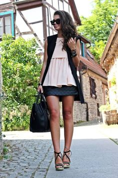 Sheinside Black Diamond Leather Mini Skirt