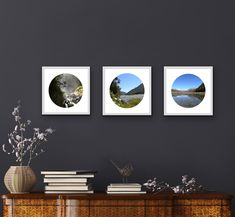 We all have spaces for smaller artworks. My latest work is circles within squares. These fine art prints are framed and measure 14in x 14in.