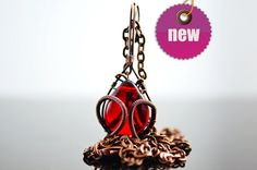 Flaming Scarlett Red heart necklace Copper woven by UxorBoutique, $18.00