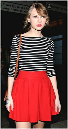 reminder to wear similar burgundy skirt with striped tee.