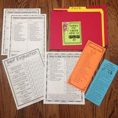 Parent Teacher Conferences Tips: Have a folder for each student. Put all of the student's forms, data, work samples, & paperwork inside the folder. Give each parent resources to take home so that they can help their child at home. Read more tips on the blog post!