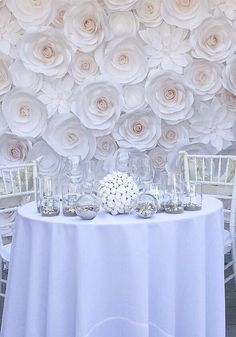 Large Paper Flowers Wedding Backdrop Paper by MoniquePaperArt