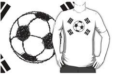 The Flag of South Korea | Football Sketch T-SHIRT,  by piedaydesigns.  The Flag of South Korea, Taegukgi ( Taegeukgi ) is the national flag for the Republic of Korea. It has four black trigrams on the corners of the flag. The yin- and yang-symbol has been replaced by a football / soccer ball. The ball is drawn in a sketch style, with a white background.