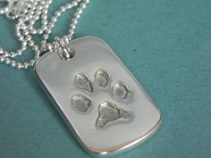 Your Dog or Cat's Paw Print in Silver Pendant by LilyBuds on Etsy, $90.00