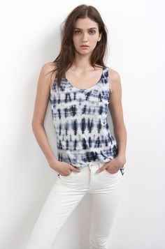 VELVET By Graham & Spencer Sasha Sleeveless Tie Dye Linen Tank Top Blue S $99 #VelvetbyGrahamSpencer #TankCami #Casual