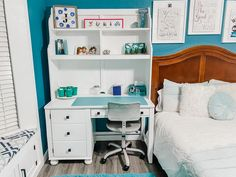 Great idea for a kids computer desk for their bedroom. Tranform an old or used wood desk to save time and money. Step by step instructions for a DIY wood desk makeover that includes before and after pictures. Transform a brown solid oak desk into a bright and white wood furniture piece to complement any kids room. Perfect quarantine project! #deskmakeover #furnitureflip #desktransformation #kidsdesk #pinspiredtodiy