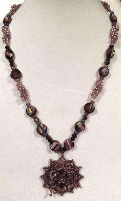 Shades of Purple Hand Woven Seed Bead Rope Necklace with Hand Woven Seed Bead #Pendant  #necklace #necklaces #handmade #handmadejewelry #handcrafted #handcraftedjewelry #jewelry #thecraftstar #vintage #valentines #valentinesday #valentinesgift