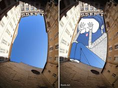 In an ongoing series entitled Sky Art, artist Thomas Lamadieu aka Roots Art, takes photos of buildings and cityscapes wherever he travels. Many of his images point skyward using a fisheye lens. He then uses the sky in each photo as his canvas, filling it with illustrations that incorporate the sky's natural colour. To…