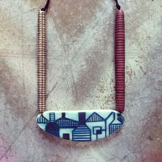 'Hill End' pendant in blue and white designed and made by Nellsdottir for the Newcastle Regional Art Gallery