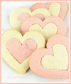 Heart Shaped Valentine's Day Cookies. Could do this with vanilla and chocolate cookie mix too.