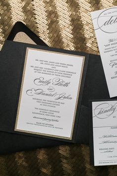 DIANE Suite Glitter Pocket Folder Package, black and gold, black tie wedding invitations, high end wedding invitations, glitter, letterpress
