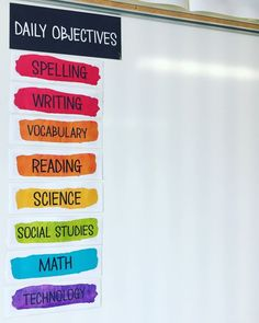 elementary classroom decor These Daily Objective Goals labels will add artistic elegance to your classroom. Use the provided cards or use the editable version, picking the co Classroom Decor Themes, Classroom Setting, School Decorations, Classroom Design, Future Classroom, Classroom Organization, Classroom Management, Classroom Activities, Grammar Activities