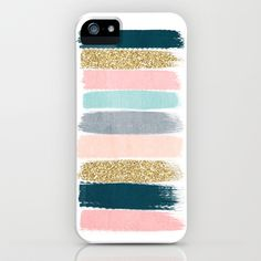 Zara - Brushstroke glitter trendy girly art print and phone case for young trendy girls iPhone & iPod Case by CharlotteWinter - $35.00