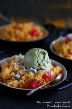 Hot Saffron and Lemon Seeroh with Pistachio Ice Cream | K.O Rasoi