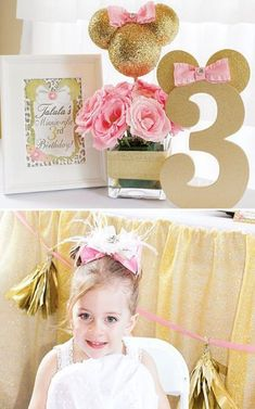 Gold Glitter & Pink Minnie Mouse Birthday Party with DIY styrofoam ball Minnie centerpiece, leopard print accented printables, bow topped Minnie cookies & 3rd Birthday Parties, Birthday Party Decorations, Girl Birthday, Birthday Ideas, Minnie Mouse Party Decorations, Craft Party, Fete Emma, Minnie Mouse Pink, Foto Baby