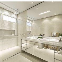 ✨Armário espelhado e revestimento no box! Gostaram? @construindominhacasaclean Veja mais no #blog #construindominhacasaclean.com #banheiro #bathroom #decor #decoracao #design #interior #casa...
