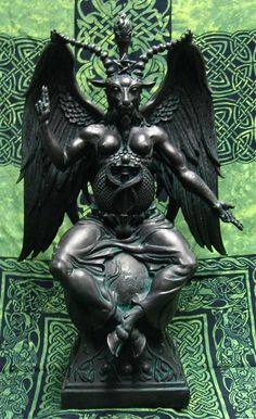 "Baphomet~ pagan deity, a product of Christian folklore revived in the 19th century as a figure of occultism & Satanism. It first appeared in 11th & 12th century as a corruption of ""Mahomet"" or ""Muhammad"" & later appeared as a a pagan idol in trial transcripts of the Inquisition of 14th centruy Knights Templar & since been associated with a ""Sabbatic Goat"" or Satan; representing duality of male & female, Heaven & Hell, night & day, as above so below signified by raised right arm & downward…"