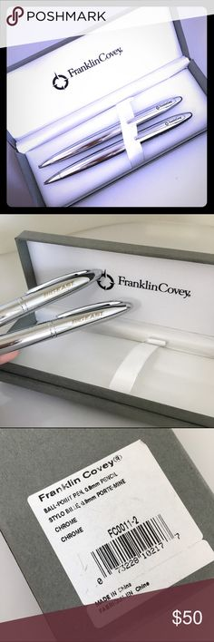 Franklin Covey Pen &Pencil Set Executive set of roller ball pen (medium nib)  and refillable lead pencil set in smooth polished chrome. The Big East conference has been stamped on the body. Franklin Covey Accessories