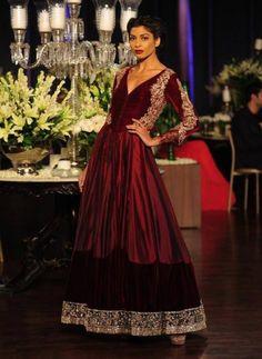 Delhi Couture Week 2013: Manish Malhotra garnet red anarkali lengha