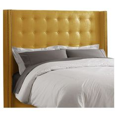 I pinned this Limoges Tufted Wingback Headboard in Yellow from the Cloverbloom Studios event at Joss and Main!