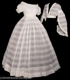 1860 sheer 3piece dress for day and evening wear. I wonder how much yardage this took...I have some cotton that is almost identical.