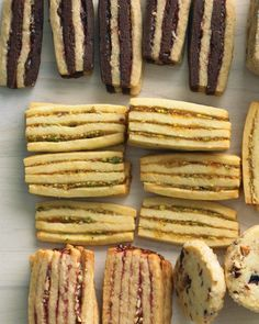 Try all three of our layered icebox-cookie variations: Chocolate-Pecan, Apricot-Pistachio, and Raspberry-Almond. Icebox Cookie Recipe, Icebox Cookies, Cookie Brownie Bars, Shortbread Cookies, No Bake Cookies, Cookie Desserts, Sugar Cookies, Baking Cookies, Spritz Cookies