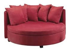 Large Red Cellini Ufo Sofa Oval Round Cloth Couch Loveseat