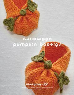 CROCHET PATTERN - Halloween Pumpkins Baby Preemie Newborn Booties Slippers Socks Shoes (HPB01-P-PAT)