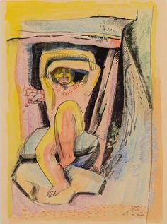 Walter Battiis Child of the Rocks 2015-08 / RK / 38.000 ZAR Walter Battiss, South African Artists, The Rock, Rocks, Auction, Child, Passion, Painting, Image