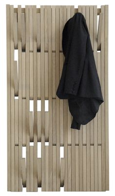 Piano Coat Rack with retractable hooks. Maybe paint slats a mix of bright colors to create a cool wall.