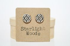 Stud wood Earrings black and white print jewelry by starlightwoods, $19.50