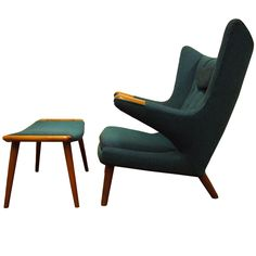 Papa Bear Chair and Ottoman by Hans Wegner | From a unique collection of antique and modern lounge chairs at http://www.1stdibs.com/furniture/seating/lounge-chairs/
