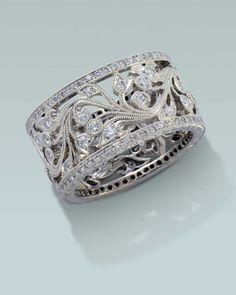 Wide filagree diamond ring. | Engagement Rings Fine Gemstones Gold Platinum Designer Jewelry