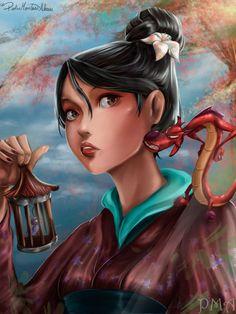 Mushu and Mulan by on DeviantArt Mulan 3, Pocahontas, Disney And Dreamworks, Disney Pixar, Disney Characters, Punk Disney, Disney Princess Art, Disney Fan Art, Arte Disney