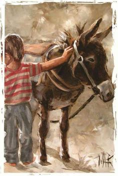 Art Painting by Maria Magdalena Oosthuizen includes Opgesaal / Saddled up, this example of Contemporary Art has inspired this exceptionally talented artist. View other Paintings by Maria Magdalena Oosthuizen in our Online Art Gallery. Watercolor Animals, Watercolor Paintings, Image Foto, South African Artists, Painting People, Art Graphique, Christmas Art, Artist Art, Beautiful Paintings