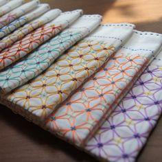 和雑貨 翠 - 三つ豆 刺し子ふきん (sashiko tablecloths)