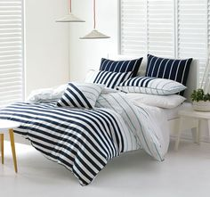 Damien Navy and Blue DECO CITY LIVING  This crisp nautical stripe with coordinated accessories creates a smart, contemporary look.  Features: Polyester and cotton Attached border Piping trim Printed stripe reverse - #quiltcovers