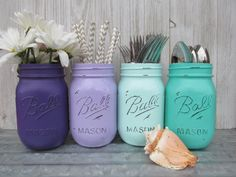 Mermaid-Painted Ball Mason Jars-Flower by ThevintageredheadCo